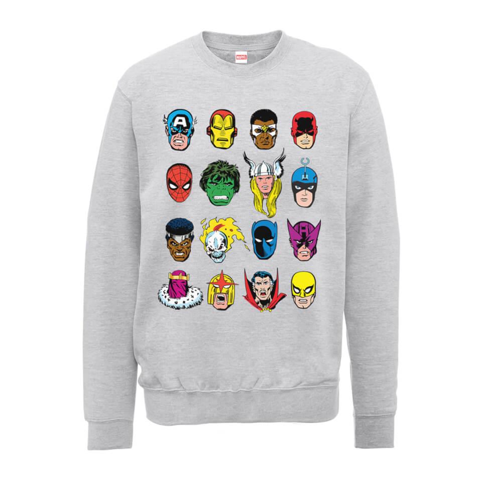 Marvel Comics Faces Colour Men's Grey Sweatshirt - M - Grey