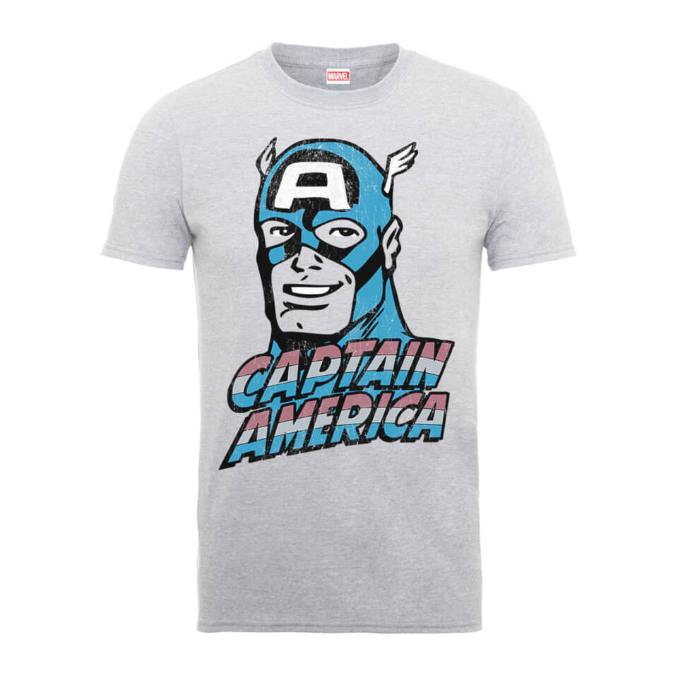 Marvel Comics Captain America Distressed Männer T Shirt Grau XXL Grau
