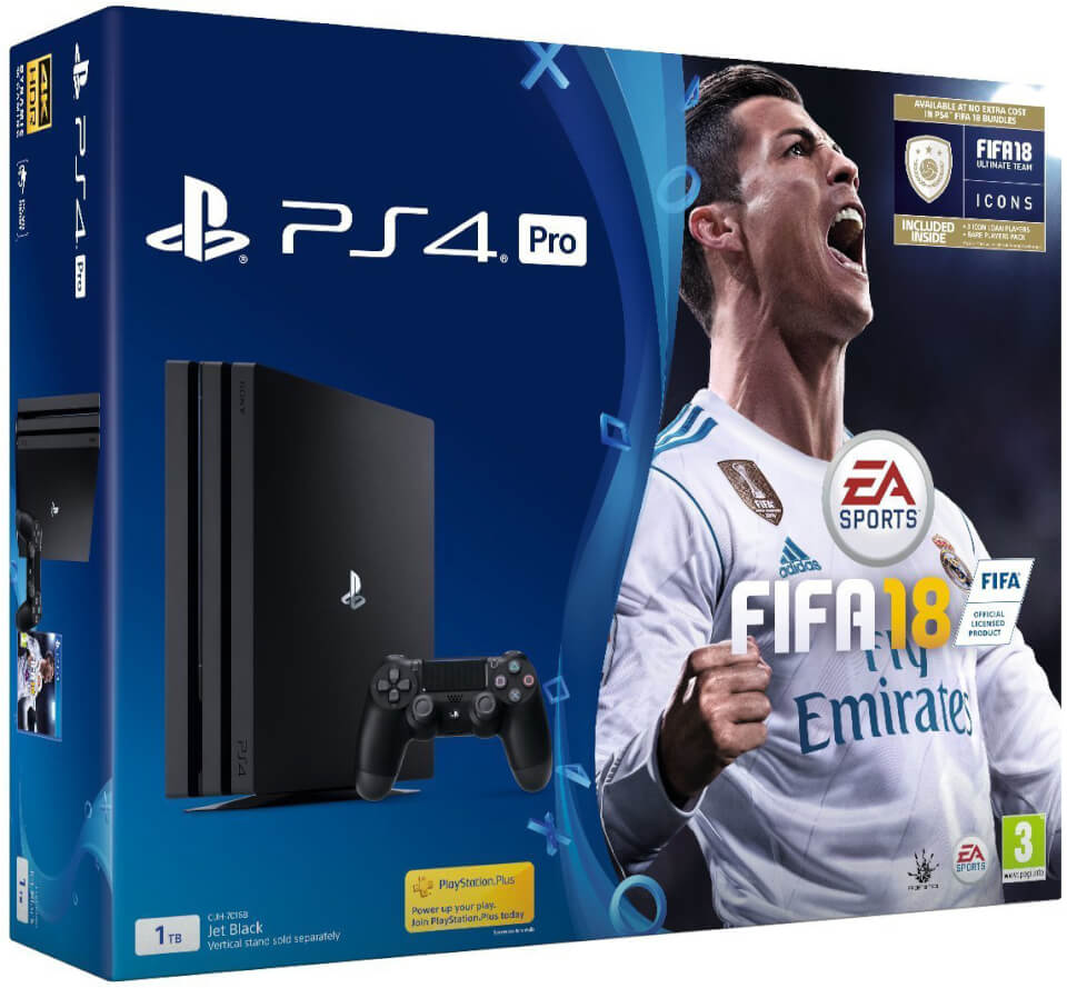 Sony Playstation Fifa 18 Pro 1tb With Ultimate Team Icons 4 Region 3 And Rare Player Pack Games Consoles Zavvi