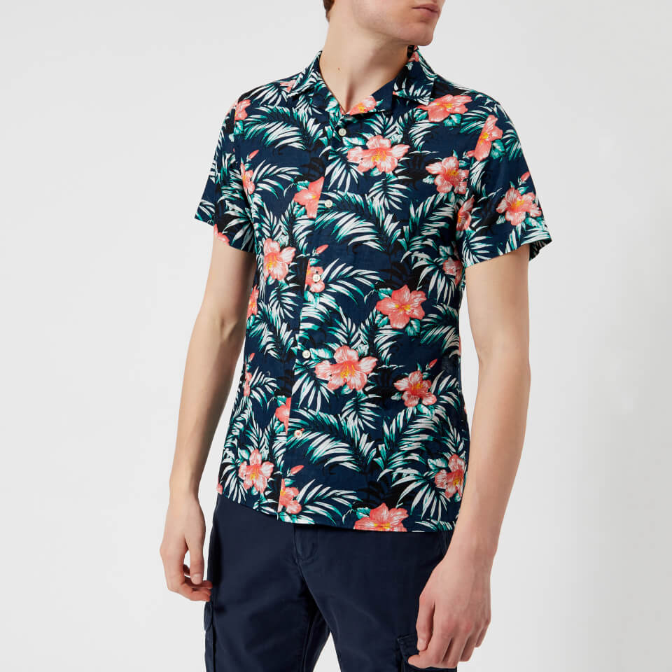 bas Skriva in propeller  Tommy Hilfiger Men's Hawaiian Short Sleeve Shirt - Navy Blazer ...