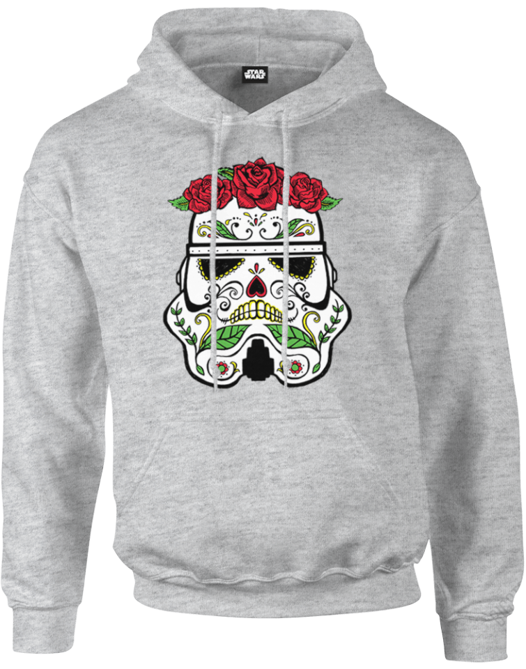 Star Wars Day Of The Dead Stormtrooper Pullover Hoodie - Grey - L - Grey