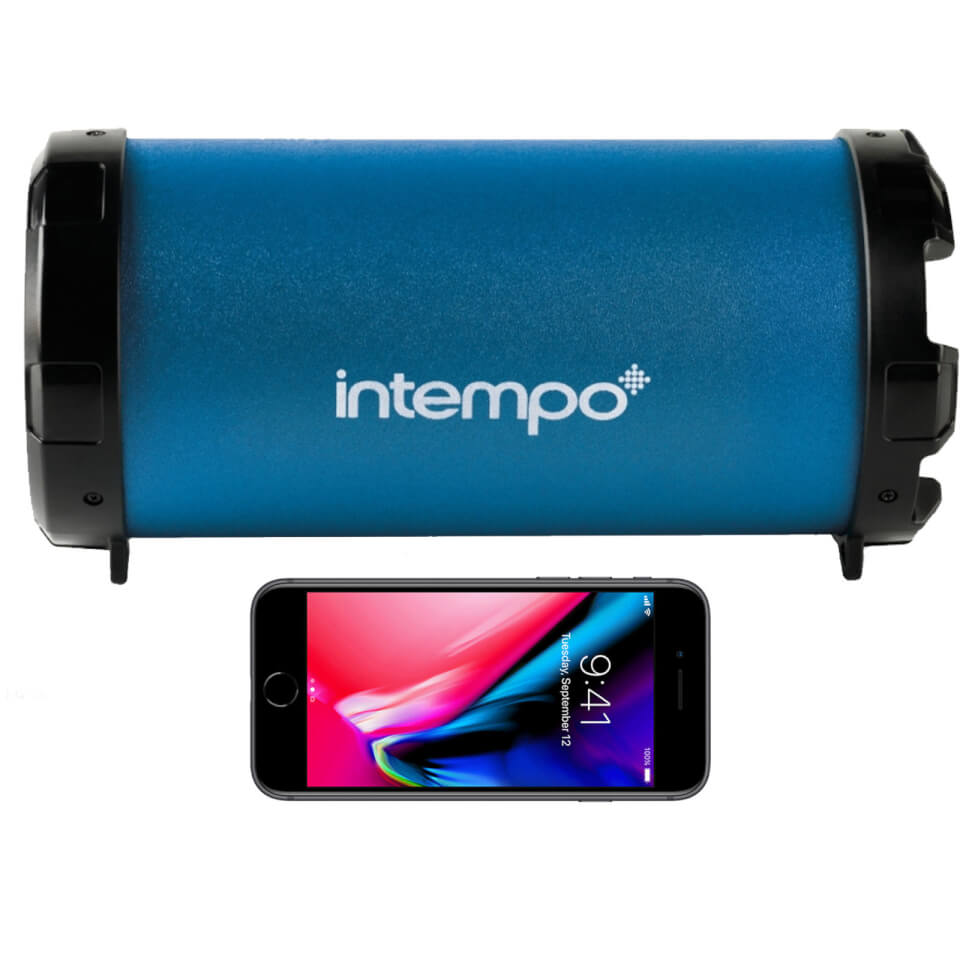 Intempo Large Wireless Bluetooth Tube Speaker Navy Blue