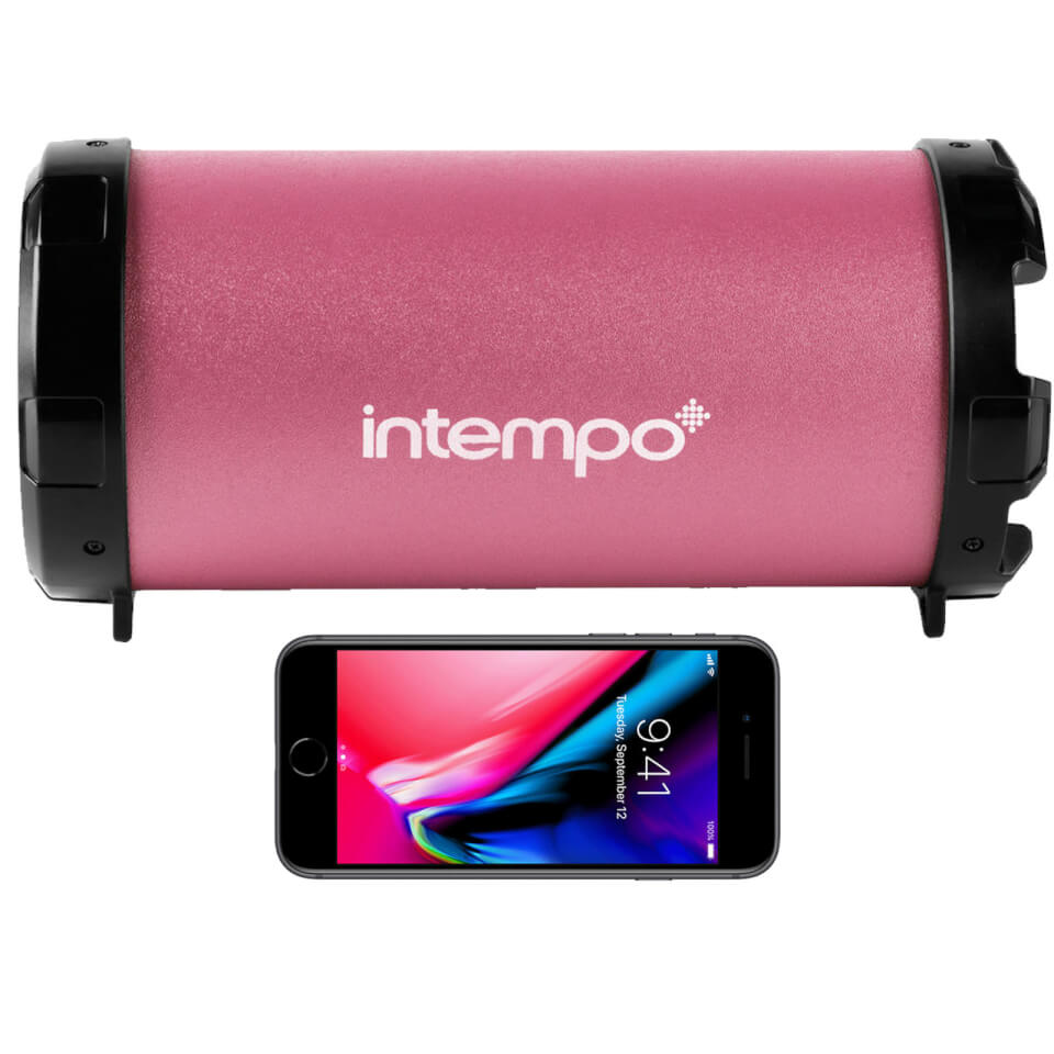 Intempo Large Wireless Bluetooth Tube Speaker Pink