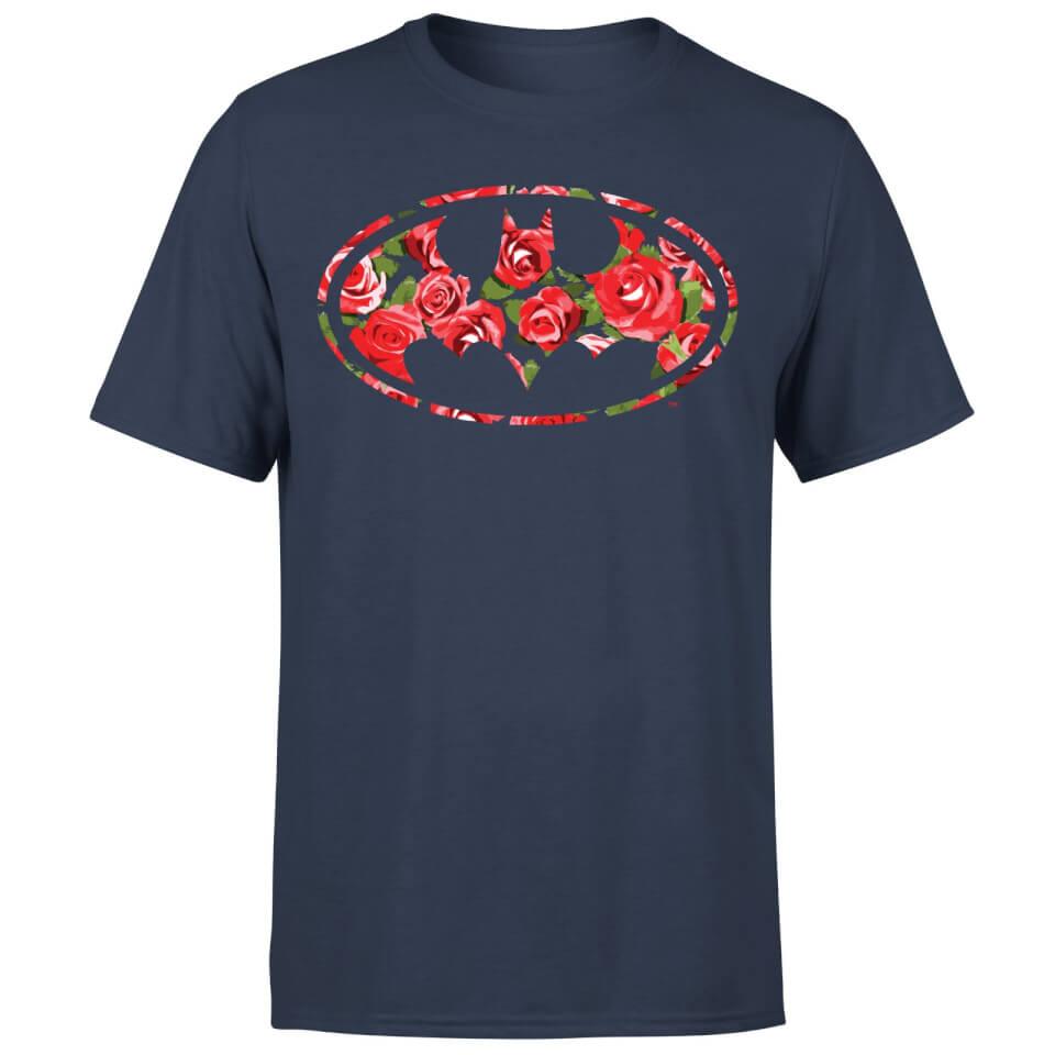 Floral Batman Logo T Shirt Black XXL Schwarz