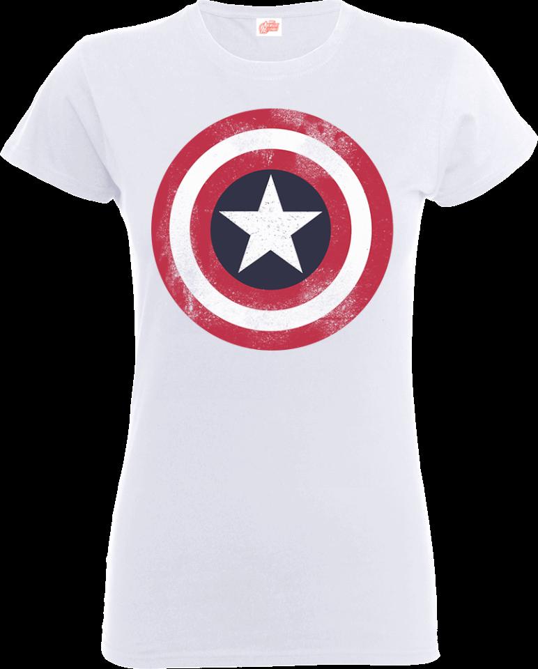 Marvel Avengers Assemble Captain America Distressed Shield Women's T Shirt Weiß XXL Weiß