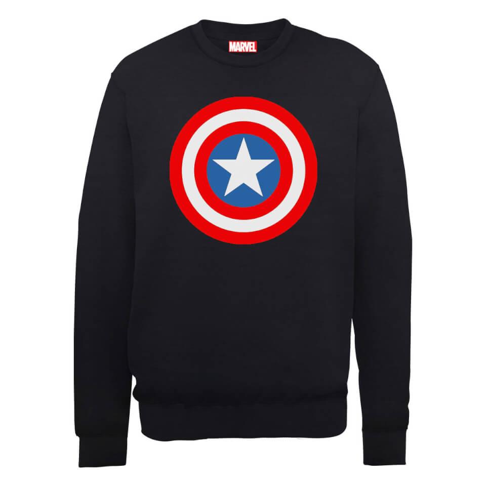 Marvel Avengers Assemble Captain America Simple Shield Sweatshirt Black XXL Schwarz