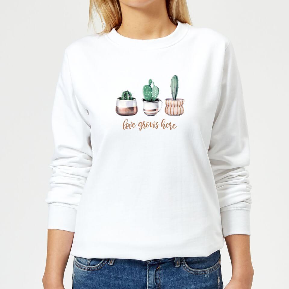 Love Grows Here Women's Sweatshirt White 5XL Weiß