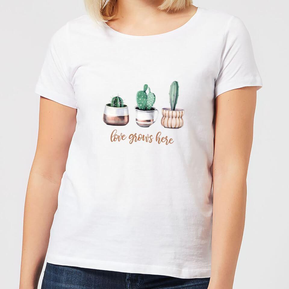 Love Grows Here Women's T Shirt White 5XL Weiß
