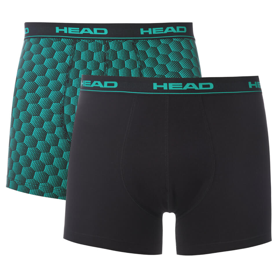 Head Men's 2 Pack Honeycomb Print 2 Pack Boxers - Teal/Black - S - Teal/Black