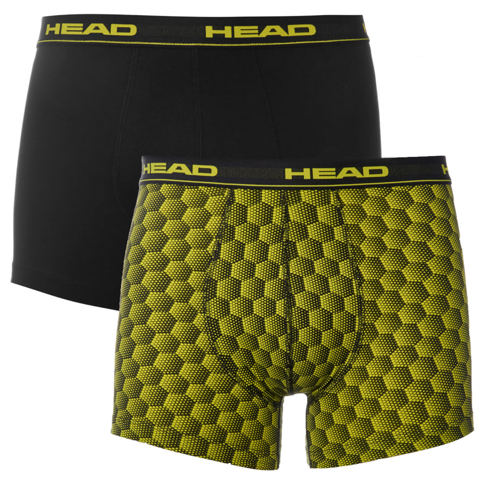 Head Men's 2 Pack Honeycomb Print 2 Pack Boxers - Yellow/Black - L - Yellow/Black
