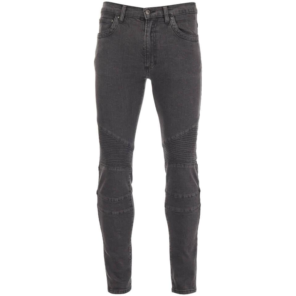 D-Struct Men's Biker Slim Fit Jeans - Grey - W28/L31 - Gris