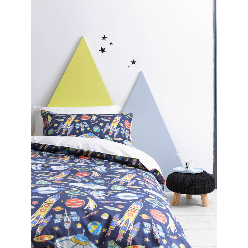 Christy Junior Blast Off Duvet Set - Cot Bed - Blue