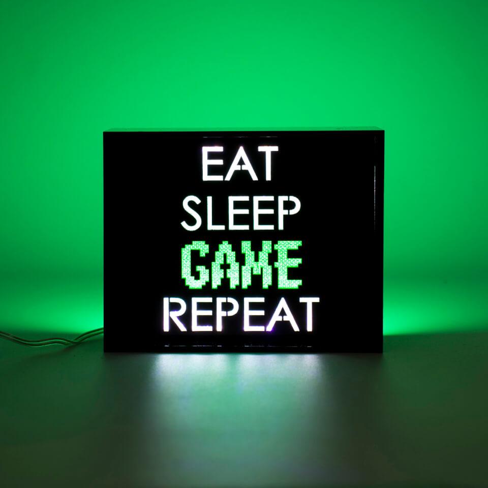 Eat Sleep Game Repeat LED Light