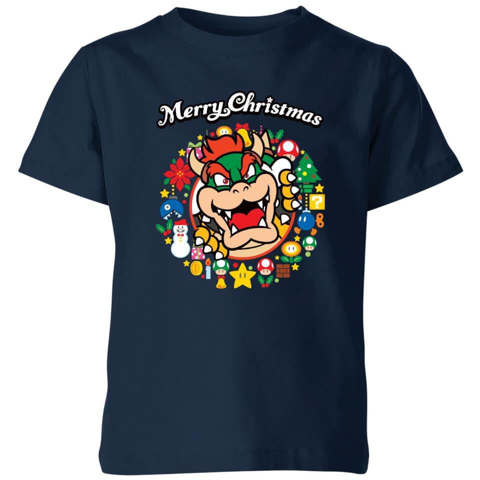 - Nintendo Super Mario Bowser Merry Christmas Wreath Kinder T Shirt Navy Blau 9 10 Jahre - Onlineshop Sowas Will Ich Auch