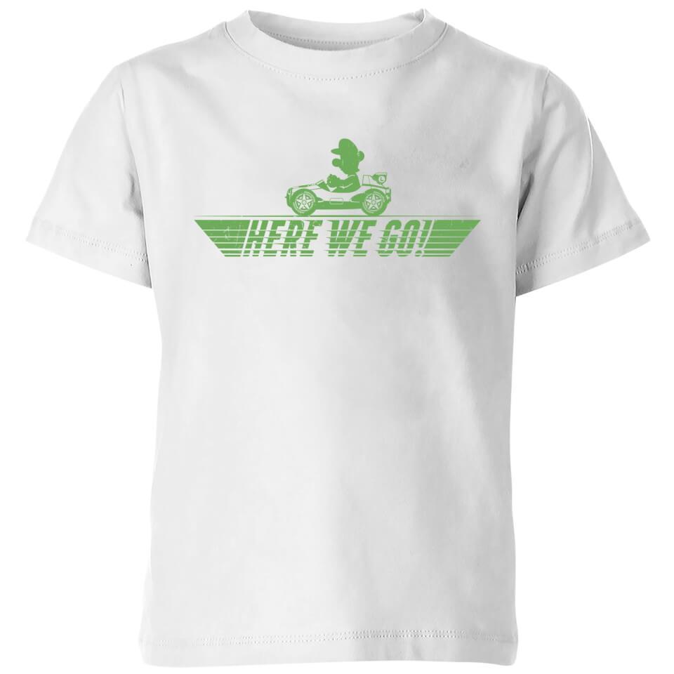 Nintendo Mario Kart Here We Go Luigi Kids' T-Shirt - White - 11-12 Years - White