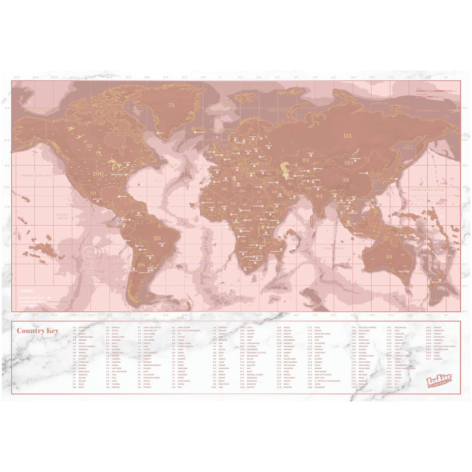 Travel Rose Gold Scratch Map