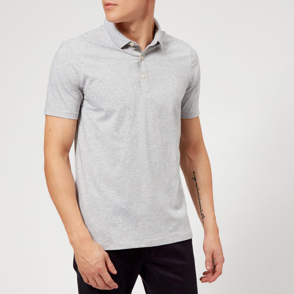Armani Exchange Mens Slim Tipped Polo Shirt Grey Clothing