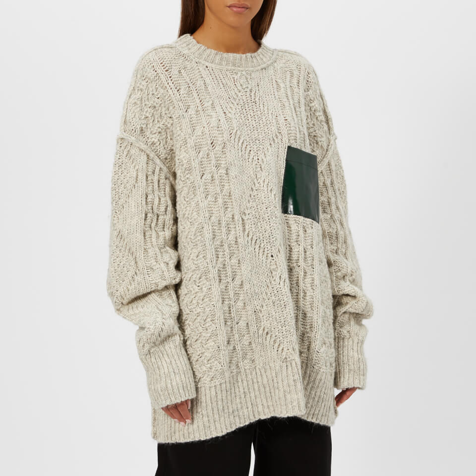 3e641c5ac1 MM6 Maison Margiela Women s Gauge Oversized Cable Knitted Jumper with Pocket  - White - Free UK Delivery over £50
