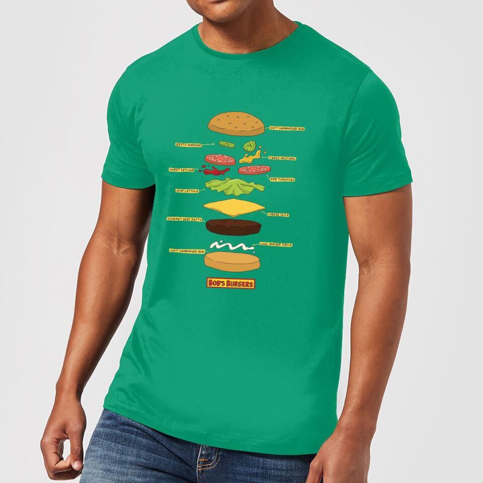 Camiseta Bob's Burgers Hamburguesa Abierta - Hombre - Verde - L - Kelly Green