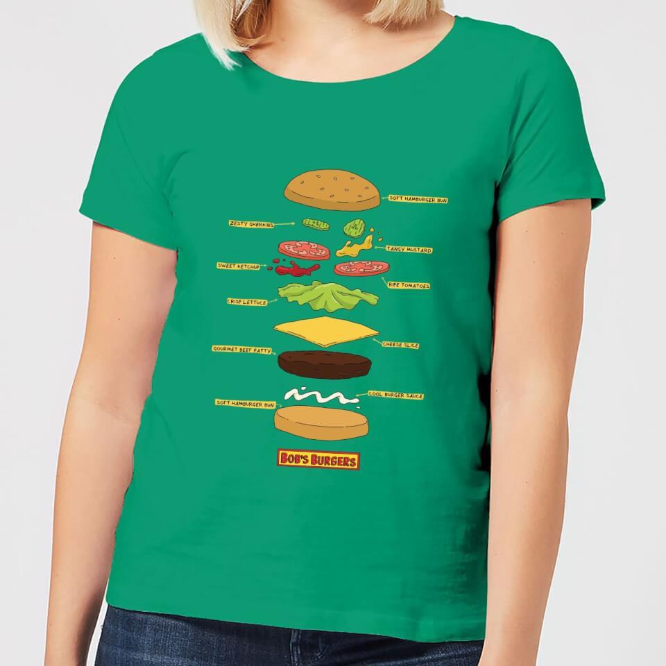 Camiseta Bob's Burgers Hamburguesa Abierta - Mujer - Verde - L - Kelly Green