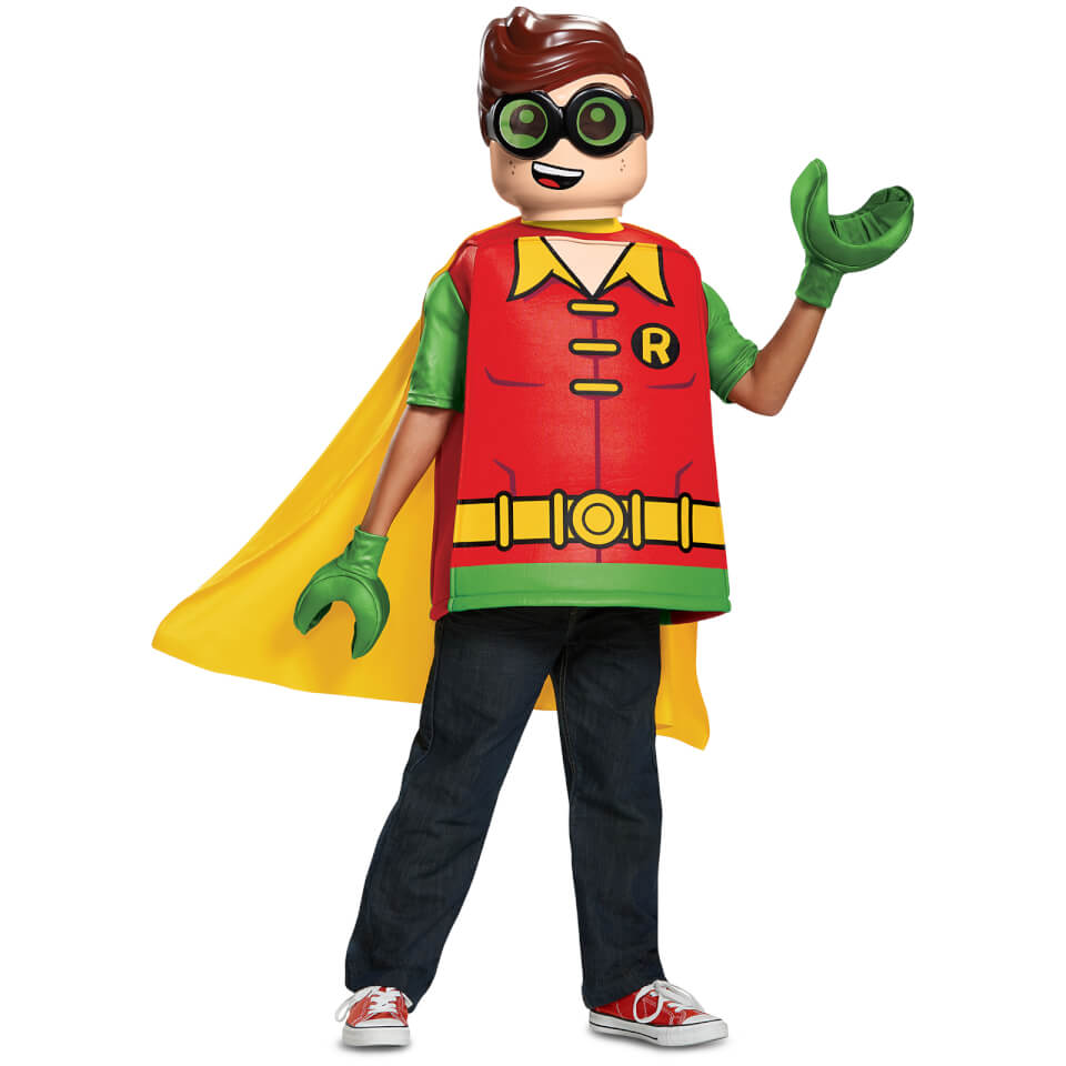 LEGO Batman Movie Kids Robin Classic Fancy Dress - Red/Green - M/7-8 Years - Red/Green