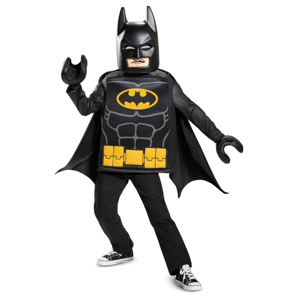 LEGO Batman Movie Kids Batman Classic Fancy Dress - Black - M/7-8 Years - Negro