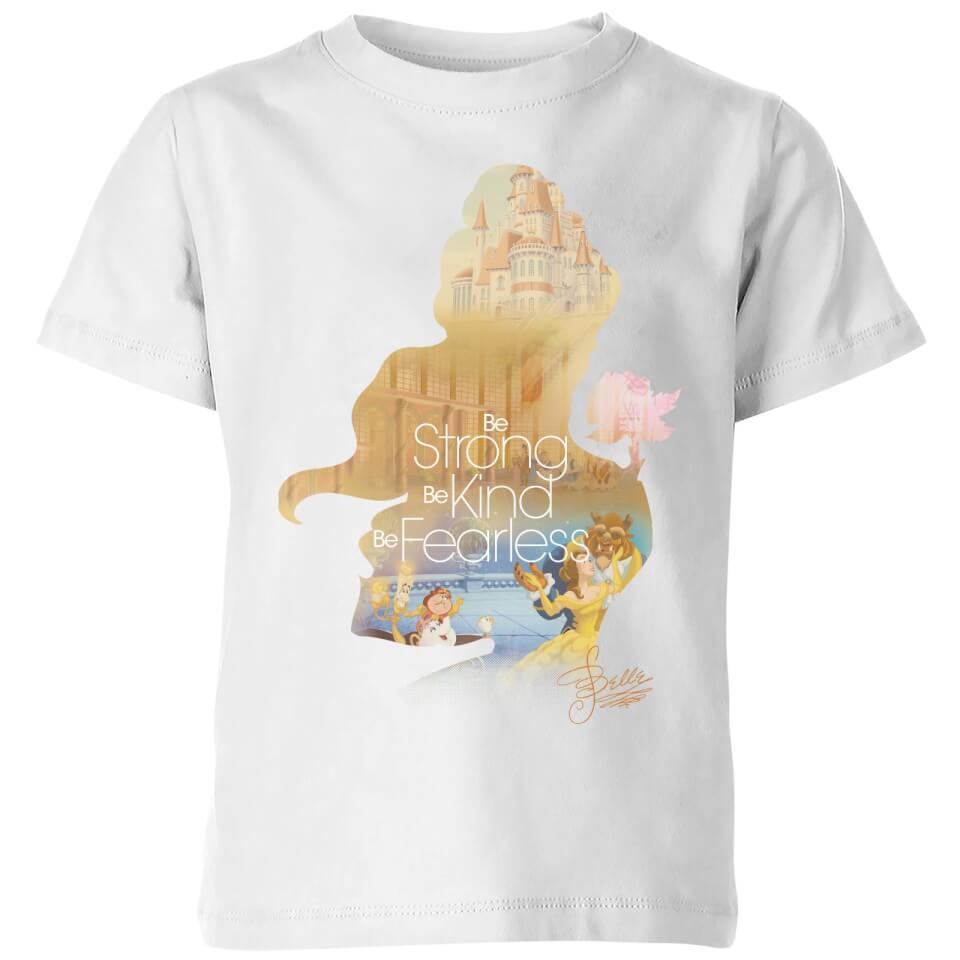 Disney Princess Filled Silhouette Belle Kids' T Shirt White 11 12 Jahre Weiß