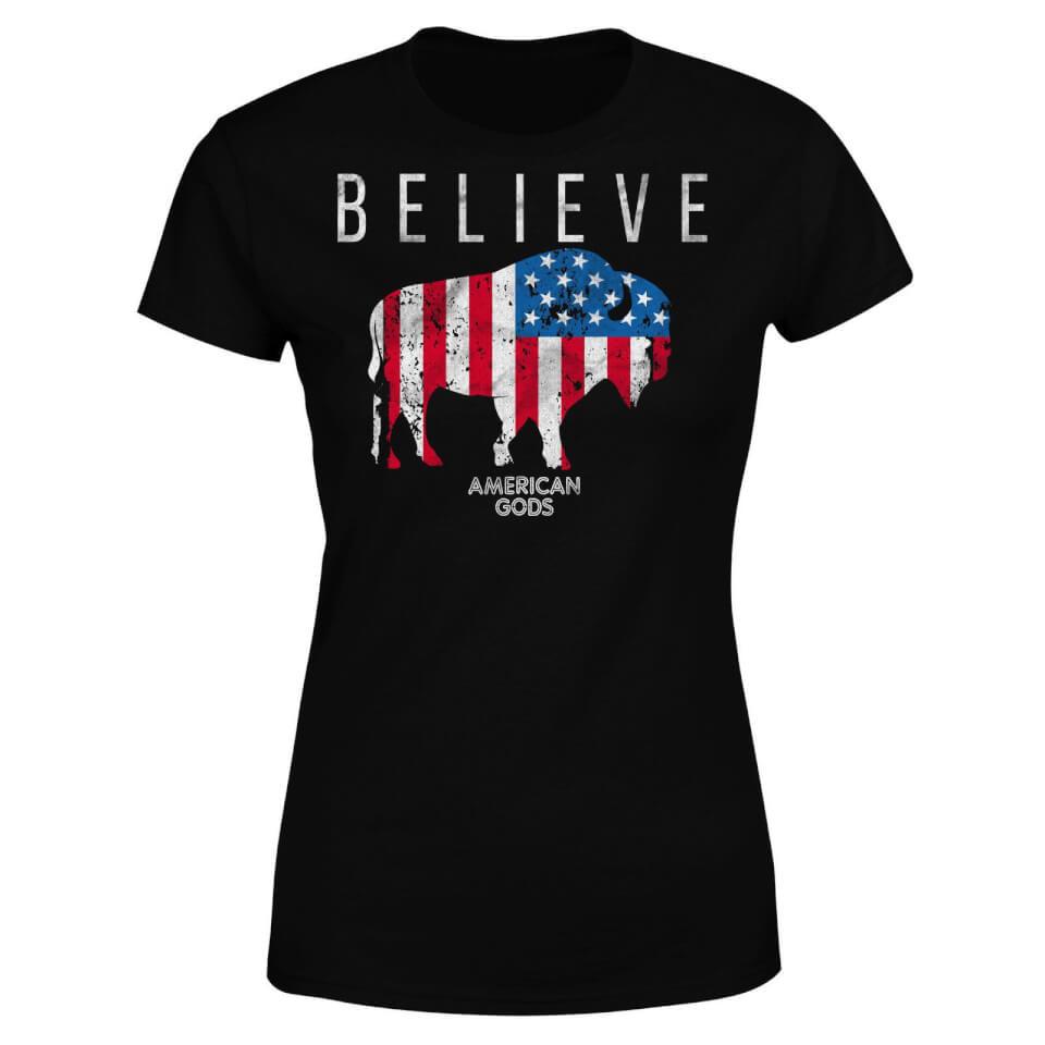 Camiseta American Gods Toro Believe - Mujer - Negro - L - Negro