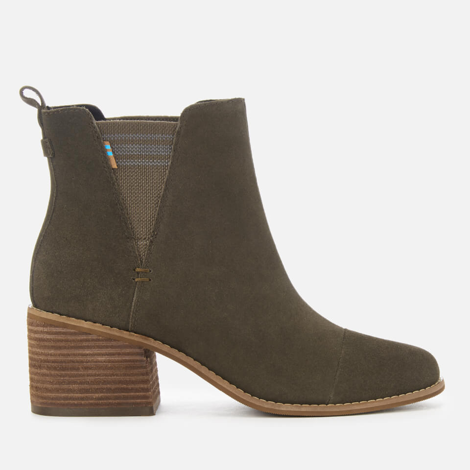 5990d43899b TOMS Women s Esme Suede Heeled Chelsea Boots - Tarmac Olive