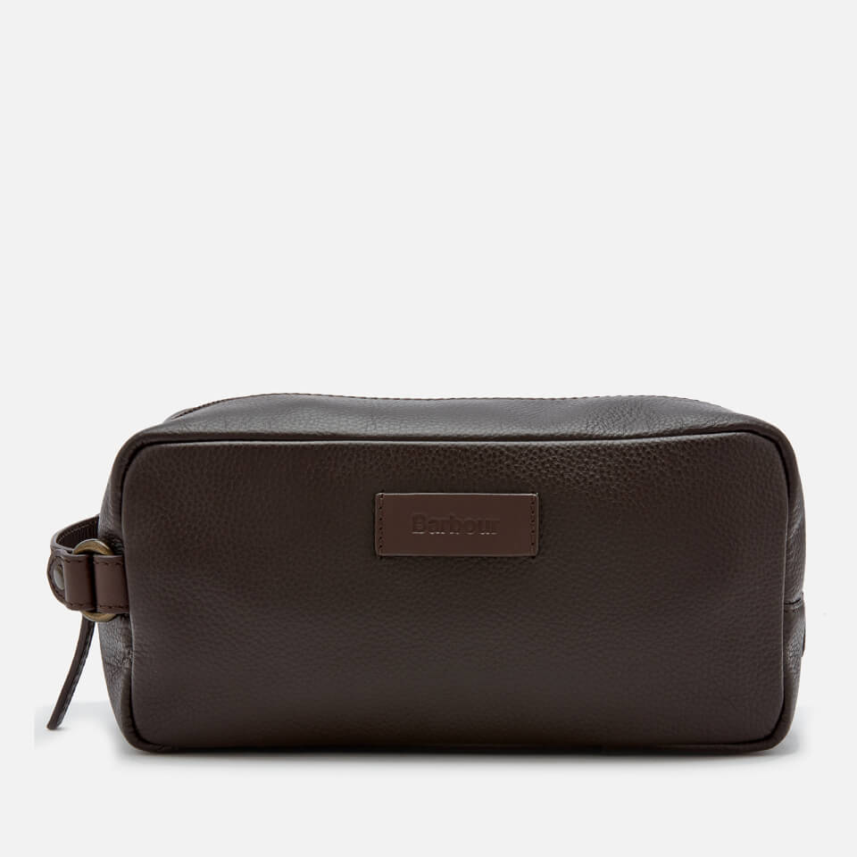 Barbour Men's Compact Leather Wash Bag - Brown