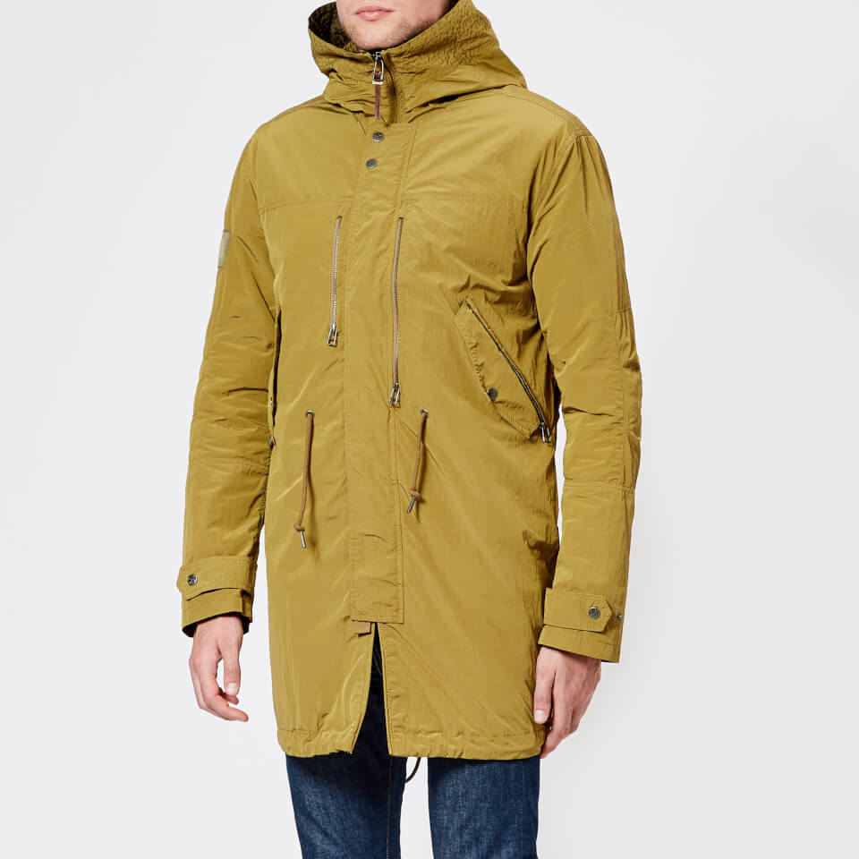 Pretty Green Men's Zip Through Hooded Parka Jacket - Khaki - L - Green