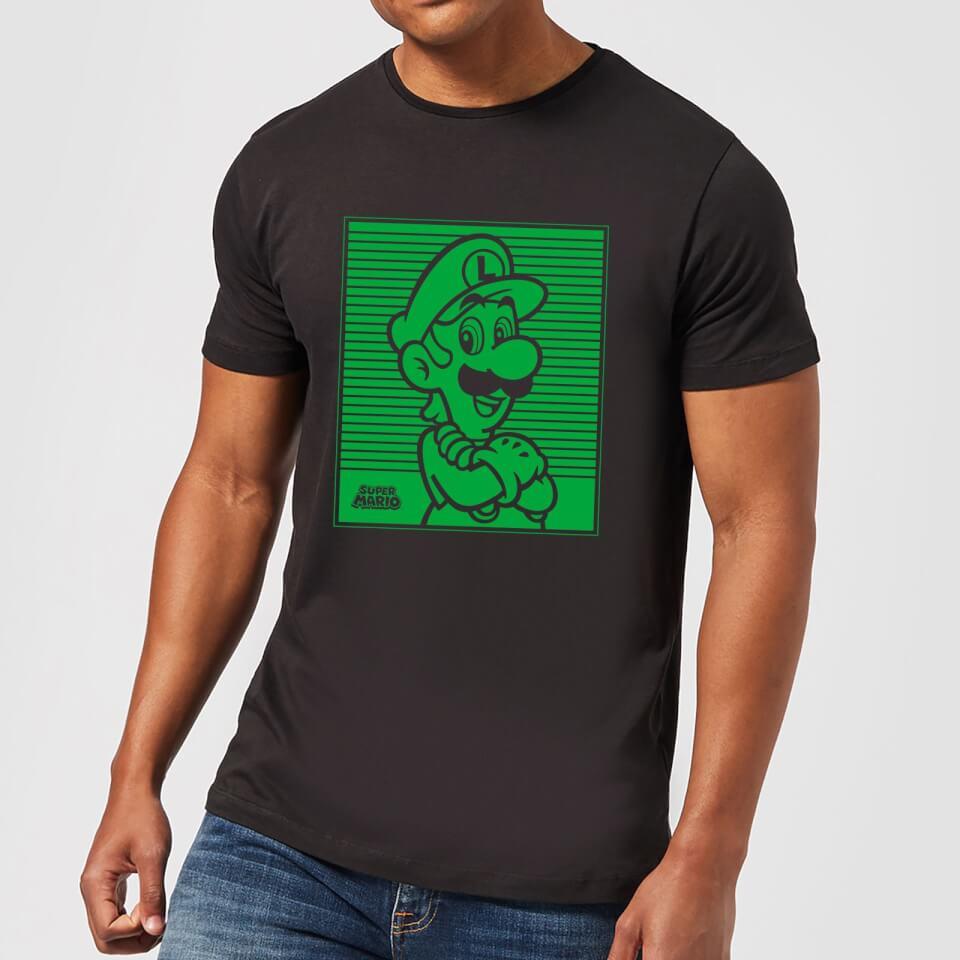 Camiseta Nintendo Super Mario Luigi Retro Line Art - Hombre - Negro - XXL - Negro