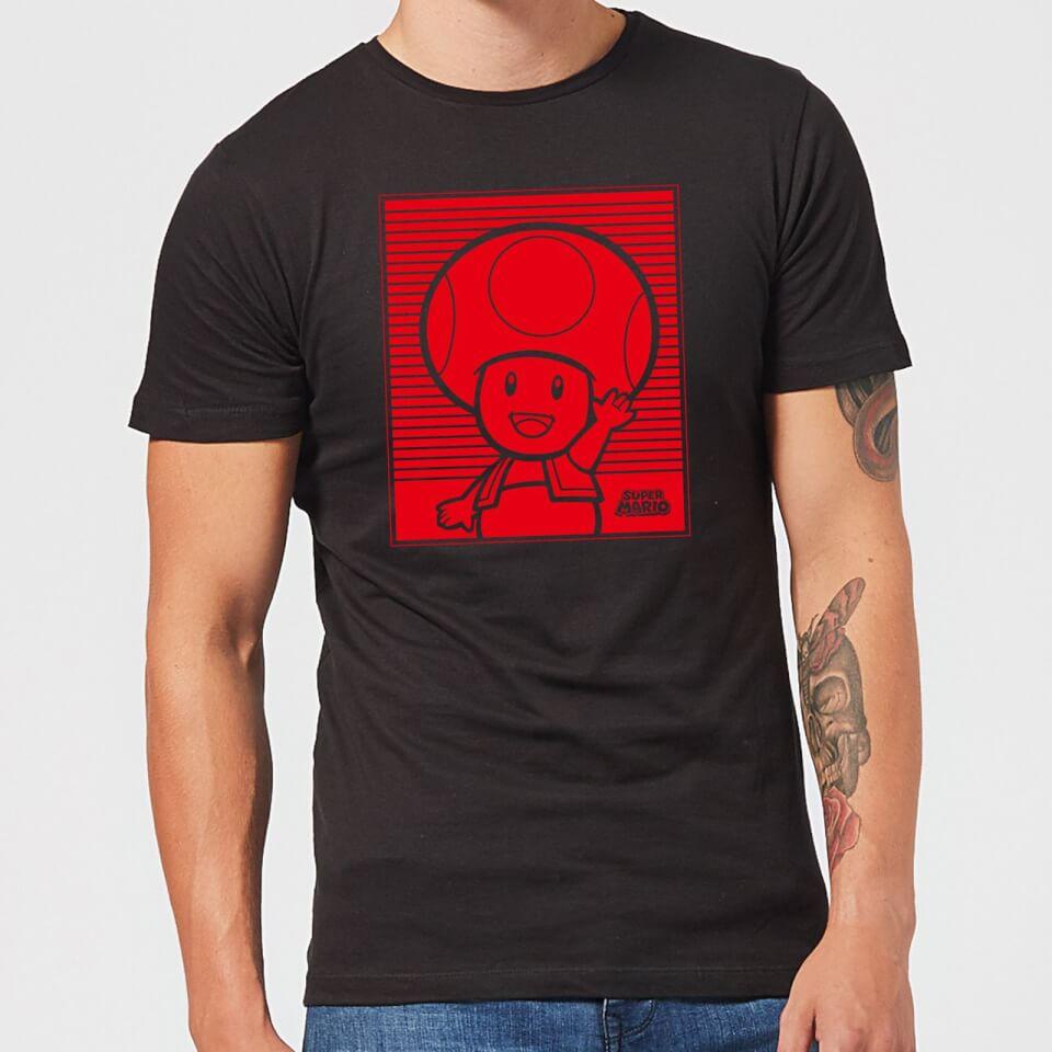 Camiseta Nintendo Super Mario Toad Retro Line Art - Hombre - Negro - XXL - Negro