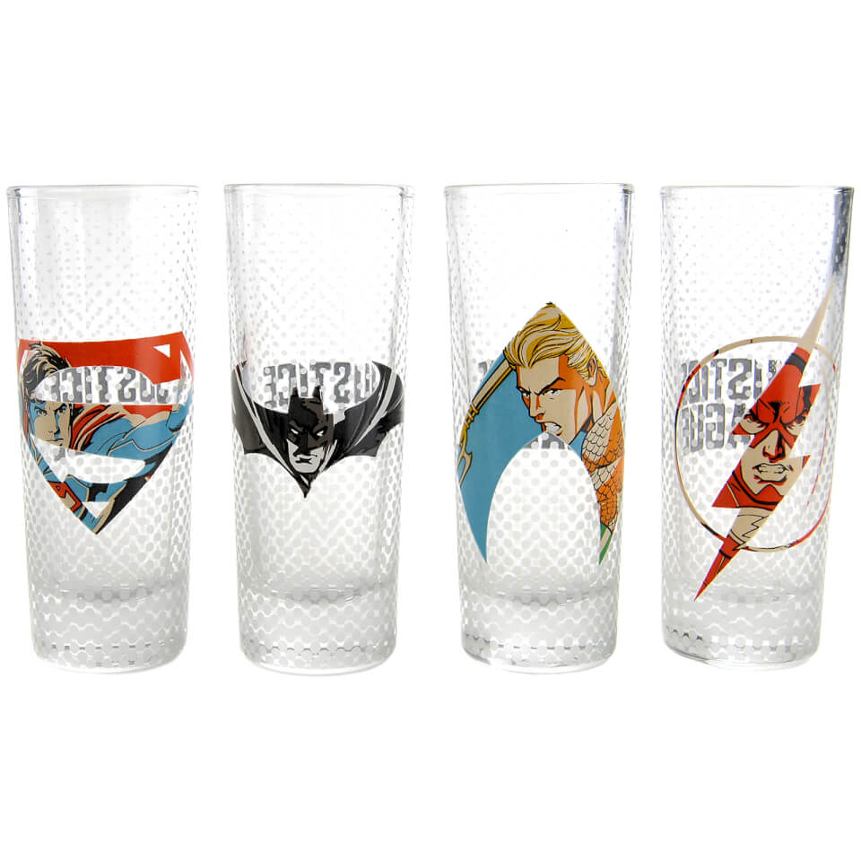 DC Comics Justice League Logo Mini Glasses (Set of 4)