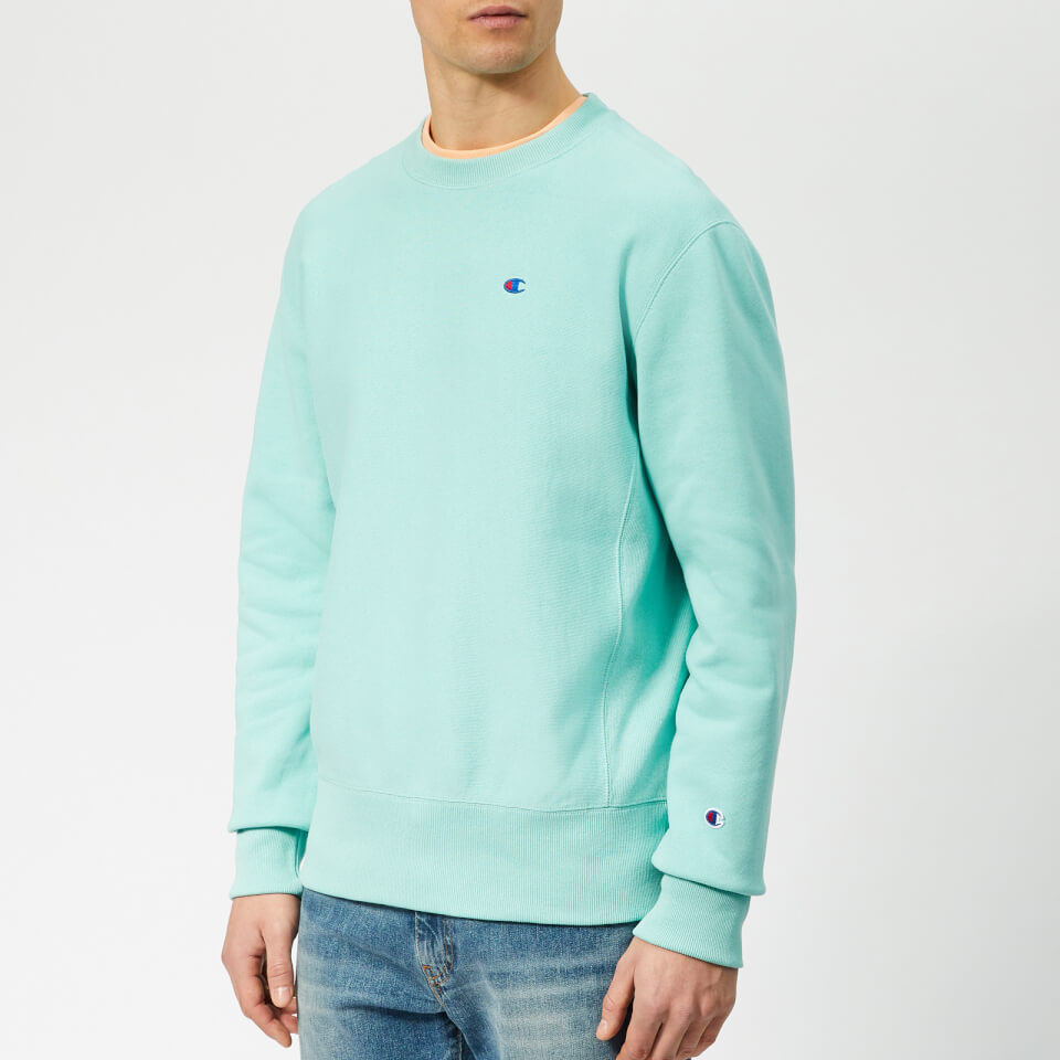 Champion Men S Crew Neck Sweatshirt Teal Mens Clothing