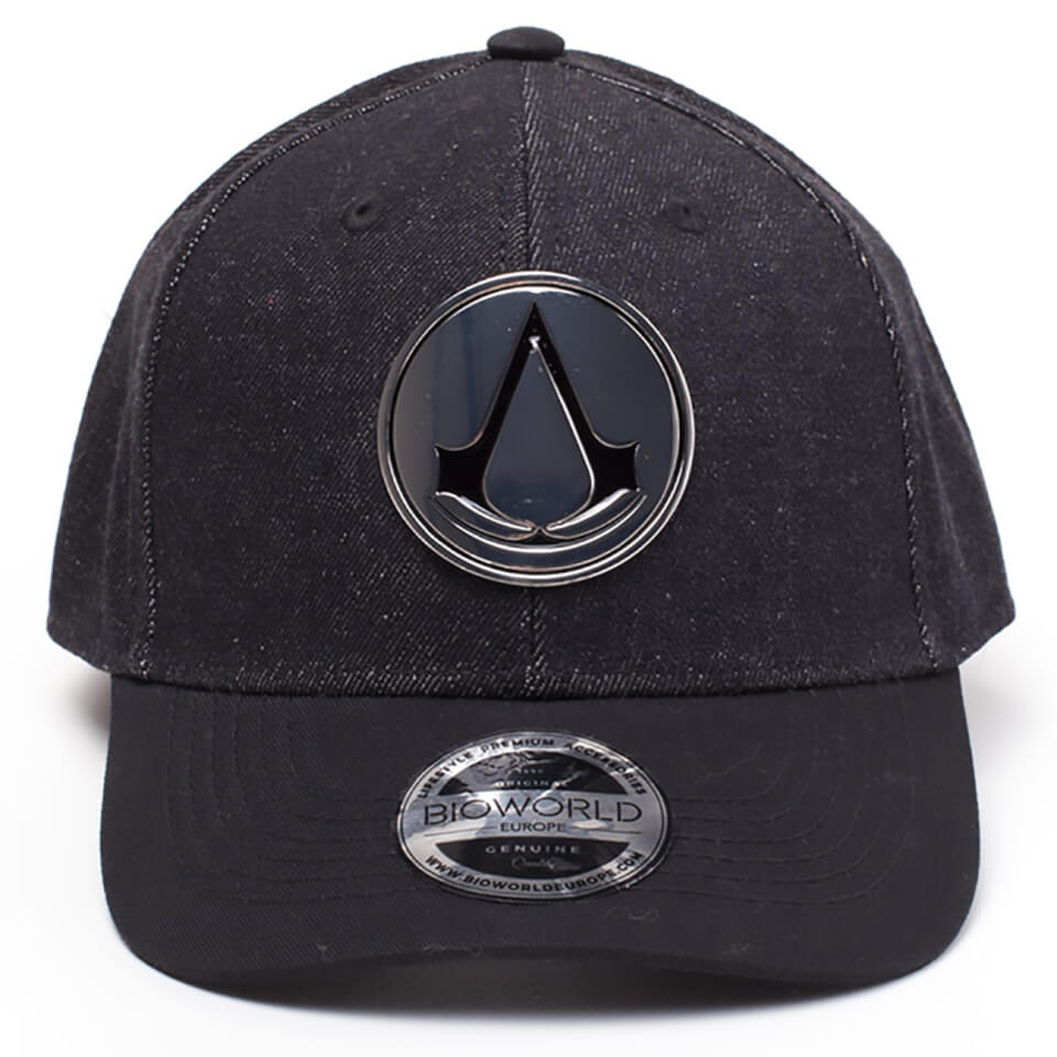 Assassin's Creed Metal Crest Denim Curved Bill Cap - Black