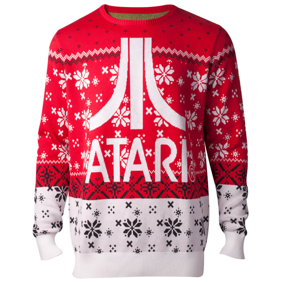 Atari Logo Christmas Knitted Jumper - Red - L - Rojo