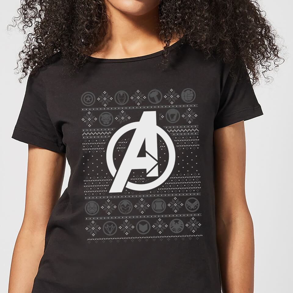 Marvel Avengers Logo Women's Christmas T Shirt Black XXL Schwarz