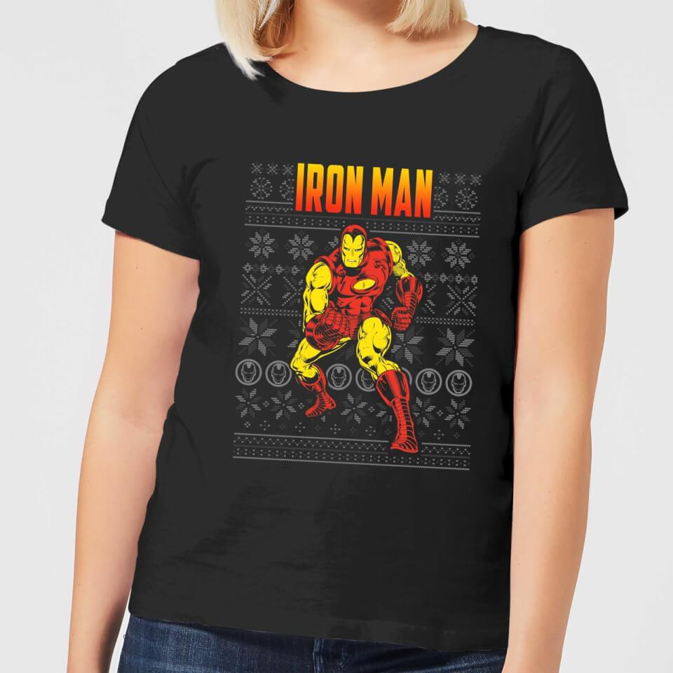 Marvel Avengers Classic Iron Man Women's Christmas T Shirt Black XXL Schwarz