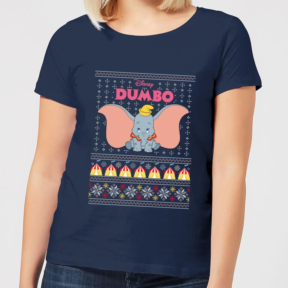 Disney Classic Dumbo Women's Christmas T Shirt Navy XXL Marineblau