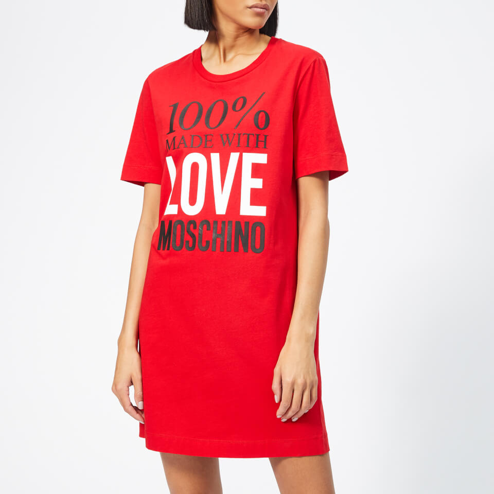 Love Moschino Women's Logo Slogan T-Shirt Dress - Red - IT 44/UK 12 - Red