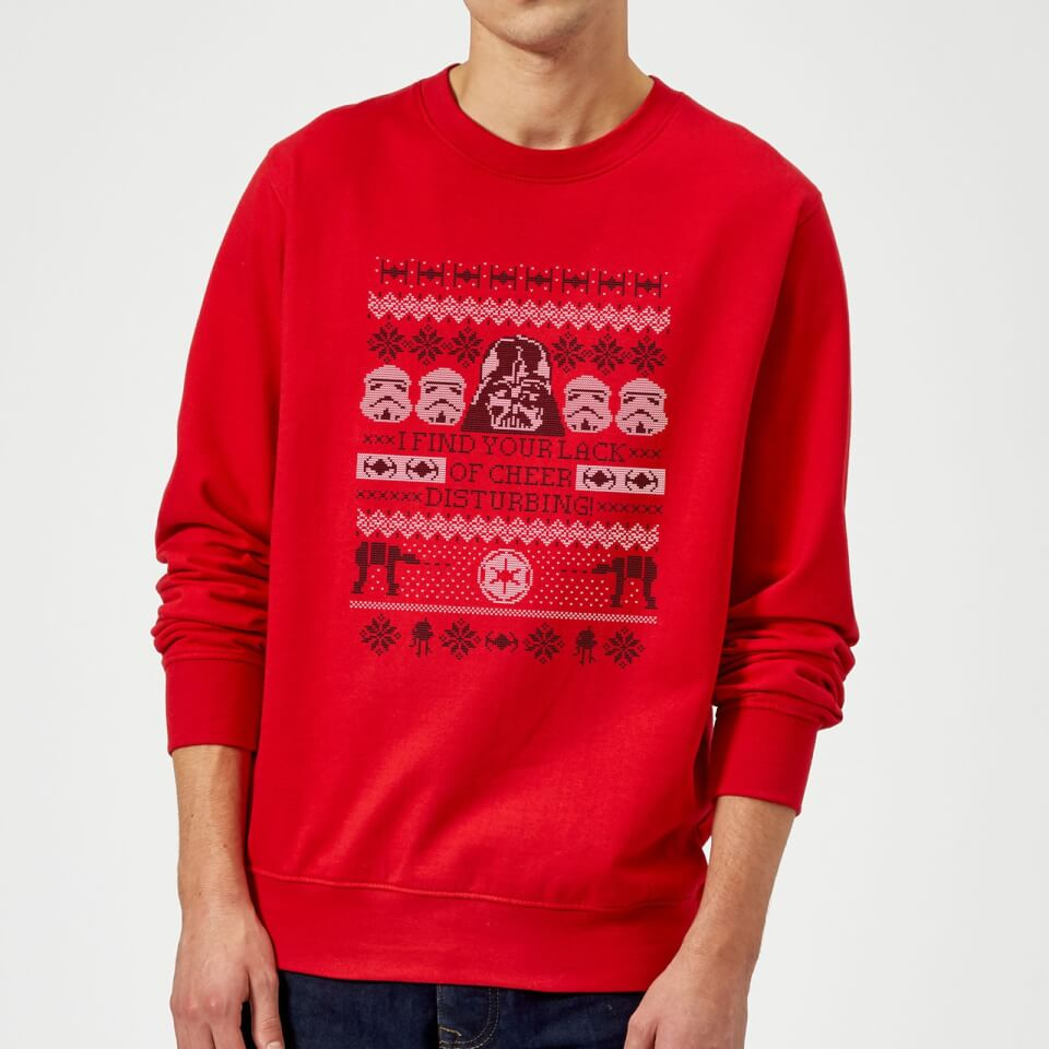 Star Wars I Find Your Lack Of Cheer Disturbing Pullover - Rot - L - Rot   Bekleidung > Pullover > Sonstige Pullover   Star Wars