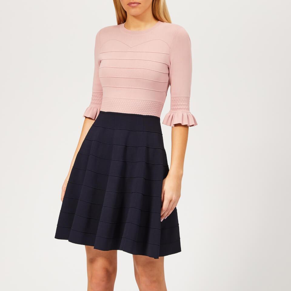 7e8b21735b753 Ted Baker Women s Dyana Frill Knitted Dress - Dusky-Pink Womens Clothing