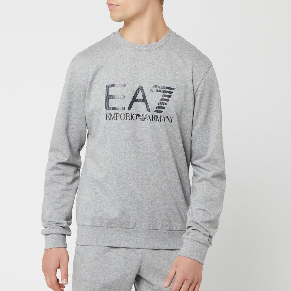 Emporio Armani EA7 Men's Train Logo Series Sweatshirt - Medium Grey Melange - M - Grey
