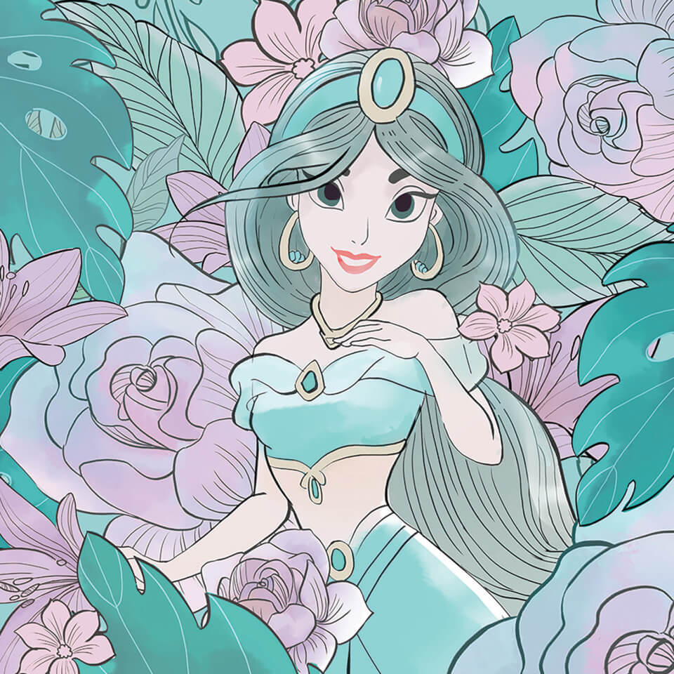 Aladdin (Floral Jasmine) 40 x 40cm Canvas Print