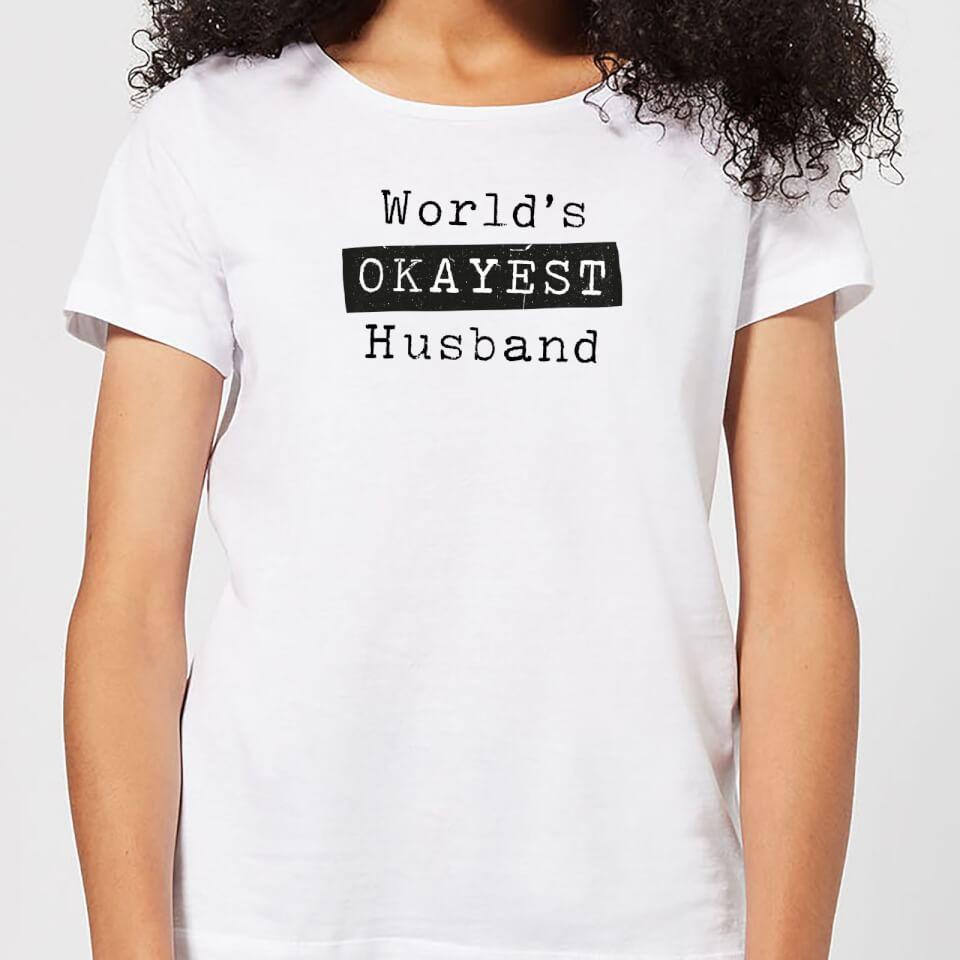 Ausgefallengadgets - World's Okayest Husband Women's T Shirt White XXL Weiß - Onlineshop Sowas Will Ich Auch