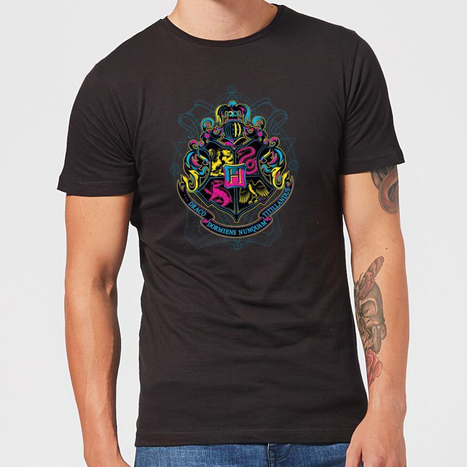 Harry Potter Hogwarts Neon Crest Men's T-Shirt - Black - M - Negro