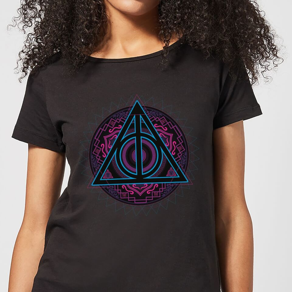 Harry Potter Deathly Hallows Neon Women's T-Shirt - Black - S - Negro