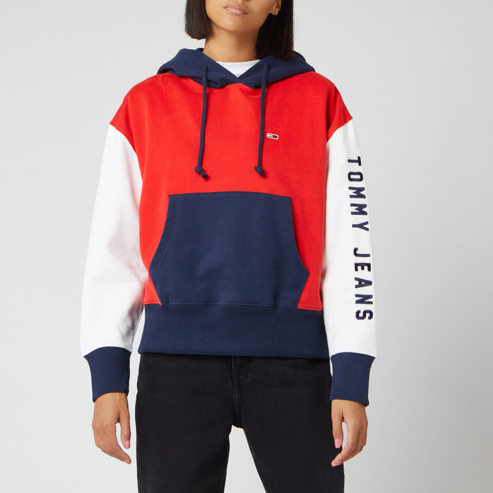 Thehut Roup Logo: Tommy Jeans Women's Contrast Sleeve Logo Hoodie