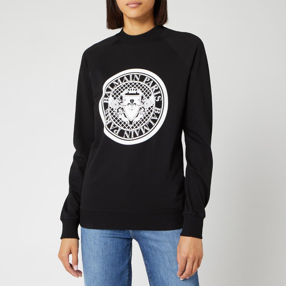 Balmain Women's Flocked Coin Sweatshirt   Black by Balmain